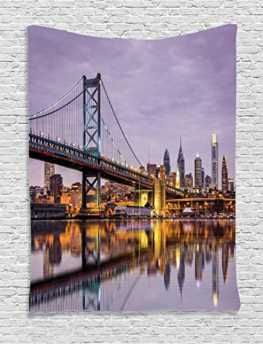 Ambesonne Apartment Decor Collection, Ben Franklin Bridge and Philadelphia Skyline under Sunsets Reflections on Water Image, Bedroom Living Room Dorm Wall Hanging Tapestry, Gray - Beach Broadway Pictures At The