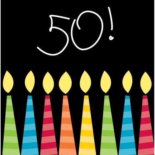Creative Converting 16 Count 3-Ply Paper Beverage Napkins, Great Birthday 50th