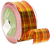 May Arts 1-1/2-Inch Wide Ribbon, Red and Yellow Plaid