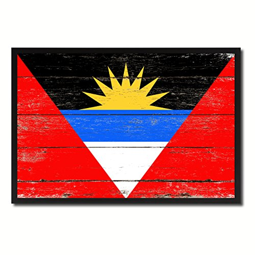 Antigua and Barbuda Country Shabby Chic Flag Black Framed Canvas Print Gifts Home Decor Wall Art Decoration 25