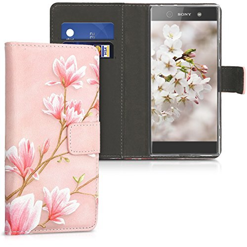 kwmobile Chic synthetic leather case for the Sony Xperia XA1 with convenient stand function - Design Magnolias in light pink white antique (Antique Magnolia)