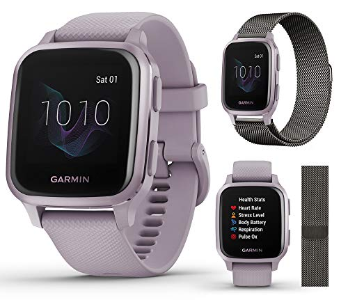 Garmin Venu Sq (Orchid) Extra Style Band Bundle | 2020 Model | with Milanese Metal Watch Band (Dark Gray) by PlayBetter | Bright Square Screen & Wrist-Based HR | Fitness GPS Smartwatch