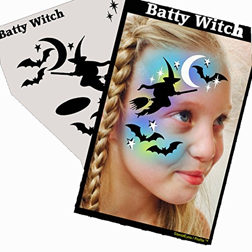 Halloween Face Painting Stencil - StencilEyes Profile Batty Witch