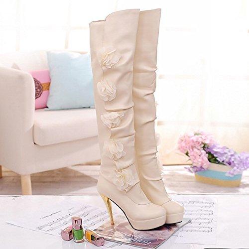 Beige 4U® la rodilla de sobre suela goma estilo Zapatos Best otoño invierno de altas flor mujer PU tela Botas casual Px7H14wqd
