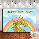 Fanghui Backdrops Photography Photo Studio Background Photographic Happy Birthday Material Vinyl 7x5ft unicorn