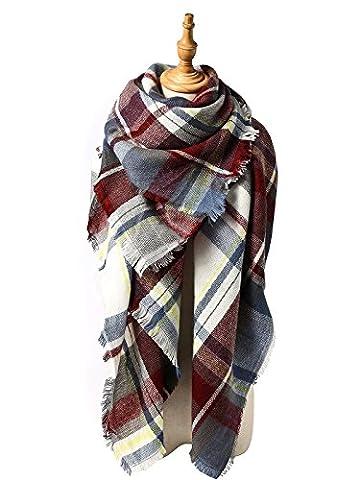 Zando Plaid Big Fall Winter Scarf Shawl Soft Thick Blanket Scarf Warm Wrap Tartan Cape Cozy Poncho Scarves for Women Fuchsia - Yarn Fuchsia Plum