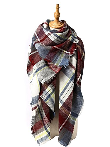 Trendy Plaid Scarfs Womens Warm Pashmina Fall Winter Soft Chunky Tartan Wrap Shawl Cozy Checked Blanket Navy w Red w Yellow by American Trends