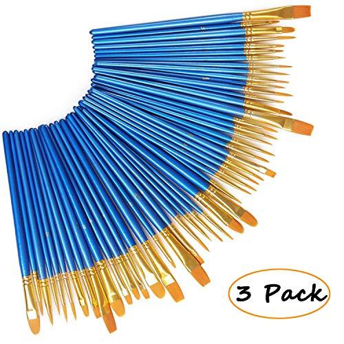 AlexBasic Paint Brushes 30 Pieces, Nylon Acrylic Watercolor Detail Painting Brushes Set Round Pointed Paints Brush Watercolor Oil Painting Artists Beginners Kids ()