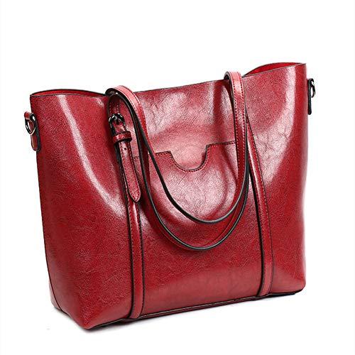 (Women's Leather Work Tote Large Purse Handbag Vintage Style Soft Shoulder Bag (Red))