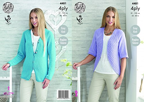 King Cole Ladies Raglan Sleeve Cardigan & Bolero Bamboo Cotton Knitting Pattern 4481 4 Ply (Bamboo Raglan)
