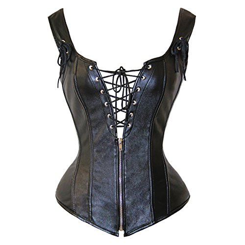 LITTLEPIG Women's Lingerie for Women Plus Size Renaissance Lace up Vintage Boned Leather Corset with G-String - Lace Up Leather G-string