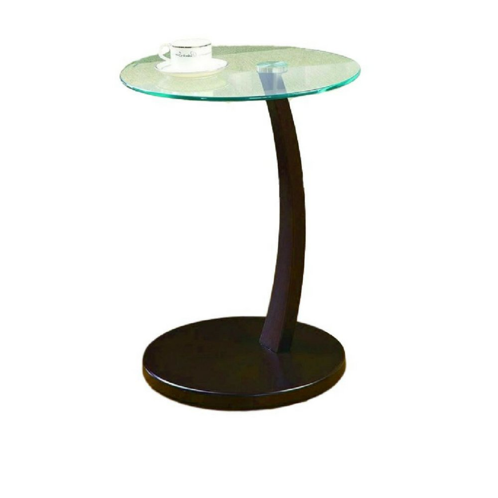 Simplistic end table sofa side table glass top wood base accent piece round furniture coffee table decorative design contemporary small table living room