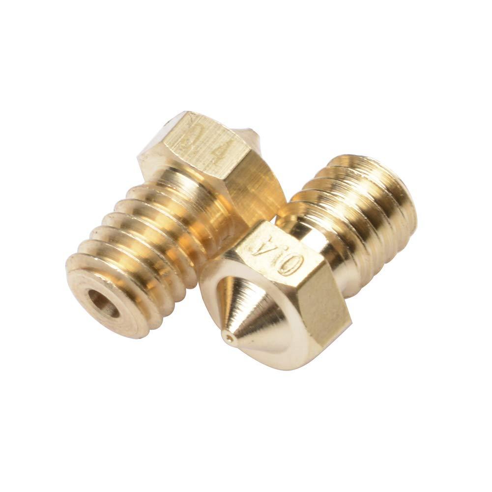 Qunqi 20Pcs Brass 3D M6 Nozzles 0.2mm 0.3mm 0.4mm 0.5mm 0.6mm 0.8mm 1.0mm Extruder Nozzle Print Head for E3D Makerbot 1.75mm Filament 3D Printer