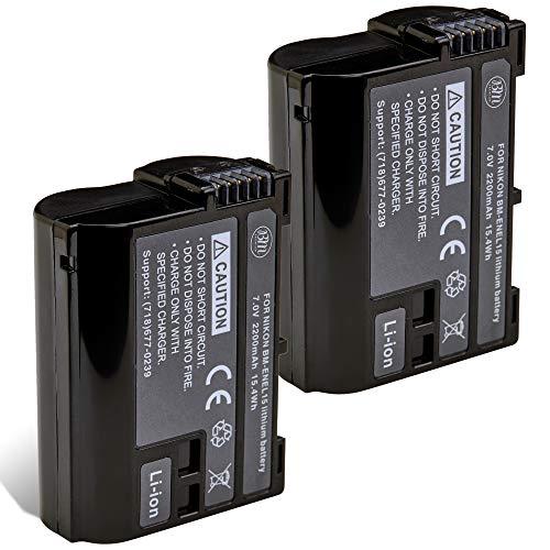 BM Premium 2 Pack of EN-EL15B Batteries for Nikon Z6, Z7, D850, D7500, 1 V1, D500, D600, D610, D750, D800, D800E, D810, D810A, D7000, D7100, D7200 Digital Cameras