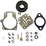 Deluxe Venom Brand Carburetor Carb Rebuild Repair Kit w FLOAT Fits/Compatible With Johnson Evinrude MANY 18 20 25 28 30 35 40 45 48 50 55 60 65 70 75 HP Outboard Motors (SEE CHART For Fitment)