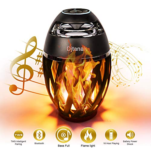 Djtanak Led Bluetooth Speaker, Flame Ambience Lantern Outdoor Speakers with Stereo Sound, Portable Wireless Speaker, Exclusive BassUp, TWS Supported, Night Light Table Lamp BT 4.2 for iPhone Android (Gifts Outdoors For Men)