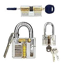 Lock Pick Set, Professional Practice Lock, 3 Packs Cutaway Crystal Visible Training Lock Pick for Locksmith, Transparent lock