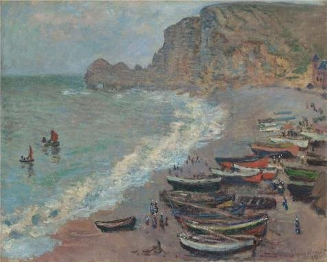 Oil Painting 'Boats On The Beach At Etretat, 1883 By Claude Monet' 12 x 15 inch / 30 x 38 cm , on High Definition HD canvas prints is for - Color Fishing Sunglasses Lens Guide