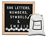 Premium Felt Letter Board | Quality American Oak Frame | 596 Letters, Numbers, Symbols and Emojis | Easily Wall Mounted | Drawstring Bag | Perfect for Quotes, Messages and Announcements | 10'' x 10''