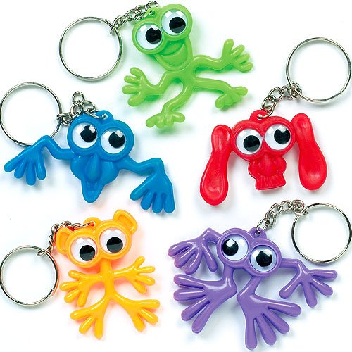 Baker Ross Lot de 6 Porte-clefs - Motif Monstres avec yeux mobiles - Idéal comme cadeau de pochette surprise