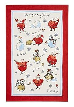 Ulster Weavers Madeleine Floyd Santa and Snowmen Linen Tea Towel