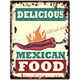 """Delicious Mexican Food Chic Sign Rustic Vintage Retro Kitchen Bar Pub Wall Decor 9""""x12"""" Metal Plate Sign Home Store Decor Plaques"""