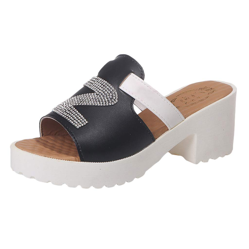 2019 Respctful✿Wedge Slippers Sandals Slip On Rhinestone High Heels Platform Summer Slippers Sandals Black