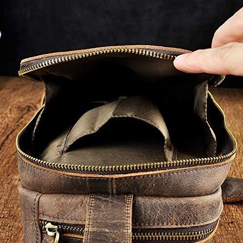 Chest Bag Home Herren Casual Leder Brusttasche Multifunktions Outdoor Sports Sports Sports Umhängetasche Mode Schulter Messenger Rucksack (Dunkelbraun) B07L97WLJQ Daypacks Flagship-Store 8ea096