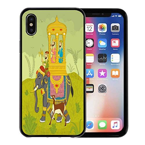 Emvency Phone Case for Apple iPhone Xs case,Colorful Mughal King on Elephant Ride in Indian India Wedding Royal for iPhone X Case,Rubber Border Protective ()