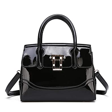 bb33b2f657 Womens Black Patent Leather Handbag shoulder purse Shiny crossbody bags  tote bags Top-Handlebags-