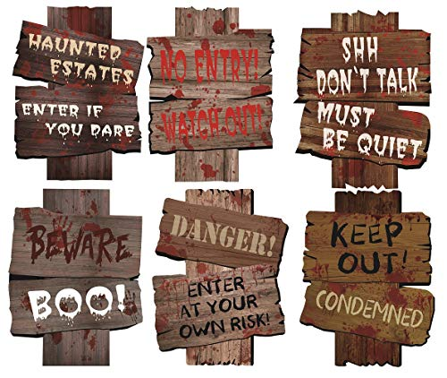 MerryXD Halloween Decorations Yard Signs Stakes Beware Props Outdoor Decor Scary Zombie Vampire Graves Party Supplies