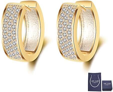 Huggie Hoop Earrings for Women - AMYJANE 14k Gold Clear Crystal Cubic Zirconia Diamond Earrings Gift Pack