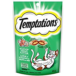 TEMPTATIONS Classic Treats for Cats Seafood Medley Flavor 3 Ounces (Pack of 12)