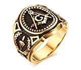 Stainless Steel Gold Plated Vintage Freemason Symbol Masonic Rings Bands for Men