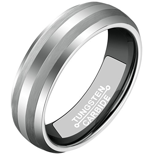 MNH Tungsten Carbide Rings Men 6mm Wedding Band Comfort Fit Matte Finish Bands Engagement Jewelry