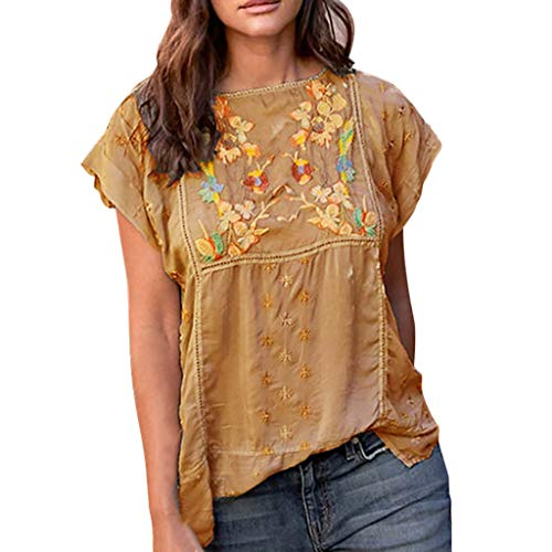 〓COOlCCI〓Women's Embroidery Mexican Bohemian Tops Shirt Tunic Blouses National Style Short Sleeve Loose Blouse Top Tees Yellow