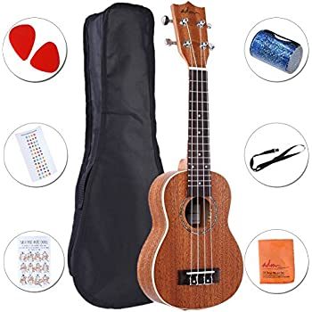 "ADM Ukulele 21"" Soprano Mahogany Professional Starter Pack with Gig Bag, Strap and Picks"