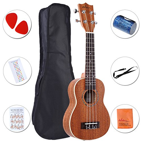 ADM Ukulele 21'' Soprano Mahogany Professional Starter Pack with Gig Bag, Strap and Picks by ADM
