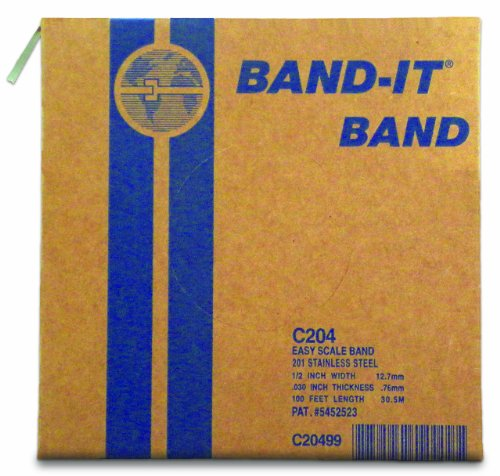 "BAND-IT C20499 201 Stainless Steel Bright Annealed Finish Band, 1/2"" Width X 0.030"" Thick, 100 Feet Roll"