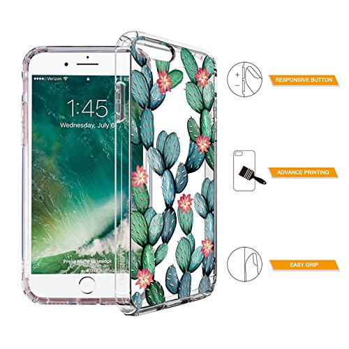 iPhone 7 Plus Case, iPhone 8 Plus Cover, MOSNOVO Tropical Cactus Clear Design Printed Transparent Plastic Case with TPU Bumper Protective Case Cover for iPhone 7 Plus (2016) / iPhone 8 Plus (2017) Photo #6