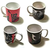 FANTASTIC BUY SET OF 4 - U2 COFFEE MUGS - Rattle and Hum, War, Under a Blood Red Sky and The Joshua Tree - LICENSED {jg} Great for mom, dad, sister, brother, aunt, uncle, cousin, grandchildren, husband, friend, granddaughter, grandson, justin