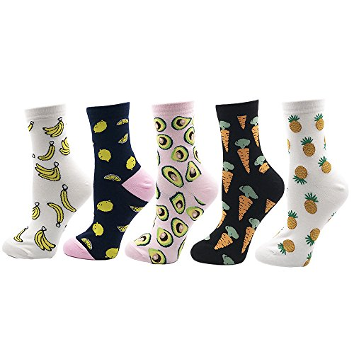 Cartoon Animal&Fruit&Food Women Crew Socks Gift Box 5 Pairs/Lot US 4-7