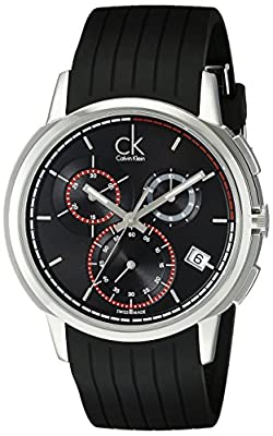 Calvin Klein Men's K1V27704 Drive Stainless Steel Watch with Black Rubber Band