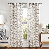 jinchan Grey Moroccan Print Curtains for Bedroom- Quatrefoil Flax Linen Blend Textured Geometry Lattice Grommet Window Treatment Set for Living Room – 50″ W x 84″ L – (2 Panels) Review