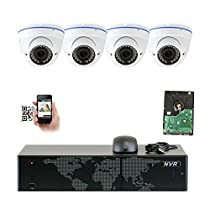 GW Security 5MP 1920p 8 Channel NVR Network Security Camera System - 4 x HD 5MP 1080P 2.8~12mm Varifocal Zoom Weatherproof Dome PoE IP Camera