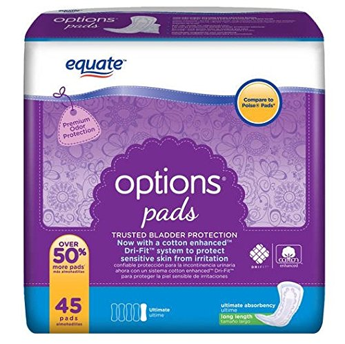 Equate Options Pads Ultimate Long Length, 45 Pads (Compare to Poise Pads)