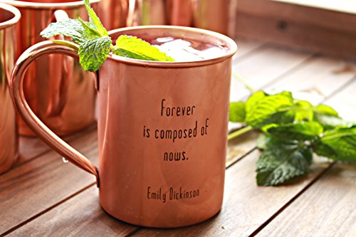 100% Pure Copper Handcrafted Moscow Mule Mugs - Choose From 6 Different Engraved Timeless Quotes - 18 oz. (Forever is composed of (Now And Forever Bridal)