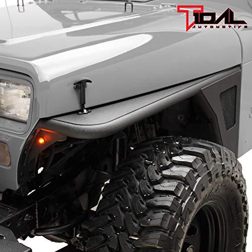 Tidal Front Fender Flare Armor Rocker Guard with Eagle LED Light for 87-96 Jeep Wrangler YJ - Front Fender Guard