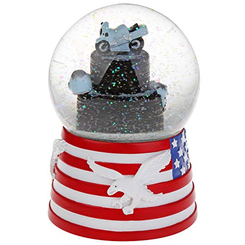 J JHOUSELIFESTYLE American Bald Eagle Snow Globe, Motocycle Rotating on The Tyres as Music Plays, Perfect Eagle Scout Decorations for Sons, Boys and Husband Birthday