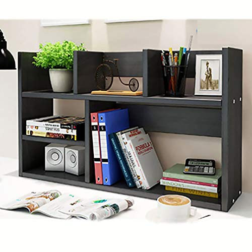 Wood Desktop Storage Organizer Multipurpose Desk Bookshelf Display Shelf Rack Top Bookcase Shelves expandable Black ()